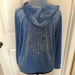 Juicy Couture Embellished Velour Blue Zip Hoodie L